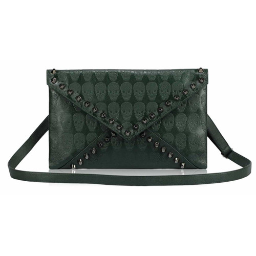 Skull Embossed and Studded Envelope Clutch Bag - Green