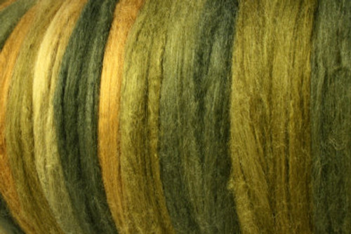 Tussah silk tops for feltmakers. This dyed color harmony is Machu Picchu