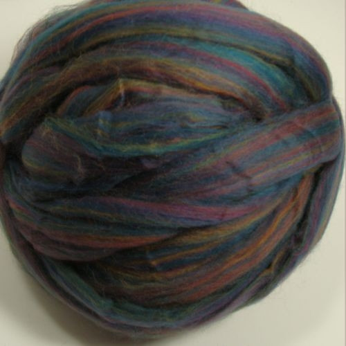 Multi Navy Polwarth wool roving