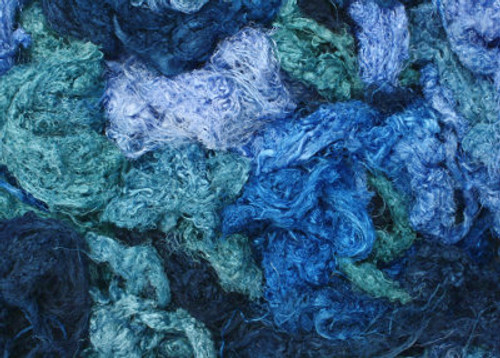 Throwsters waste silk fiber texture for feltmakers.  This dyed color is Southern Seas.