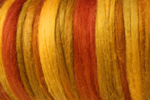 Bombyx silk tops for feltmakers. This dyed color harmony is Spice Market
