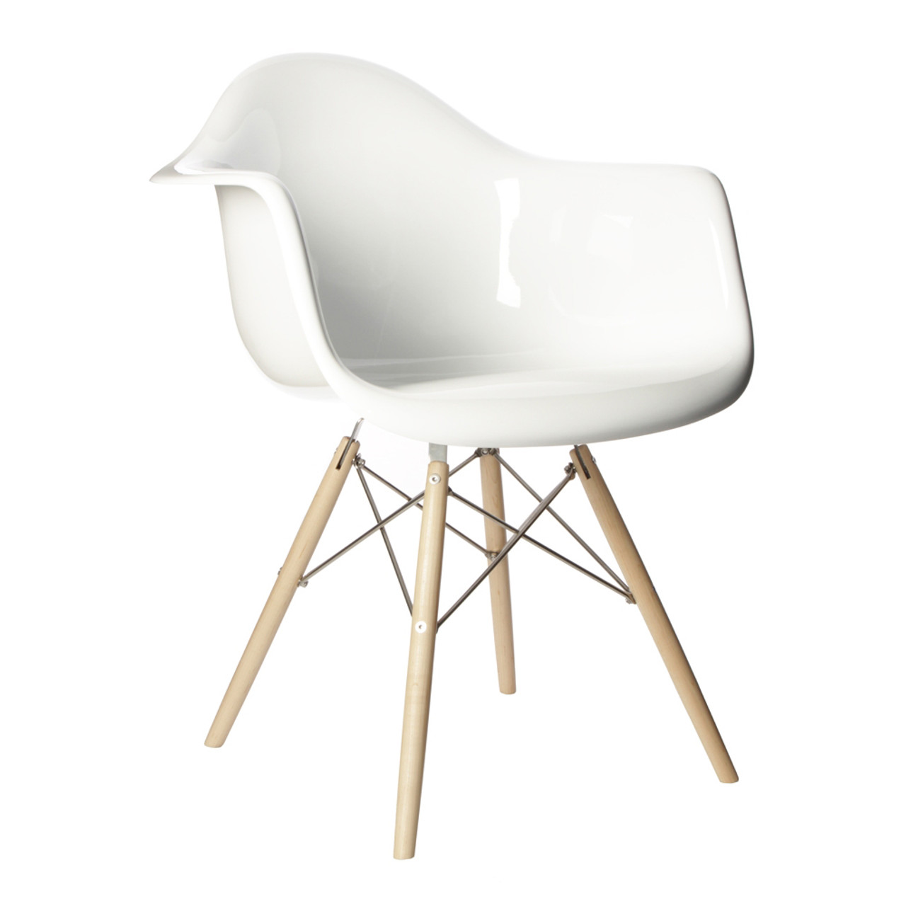 Charles Eames Style DAW Arm Chair, White ABS Plastic
