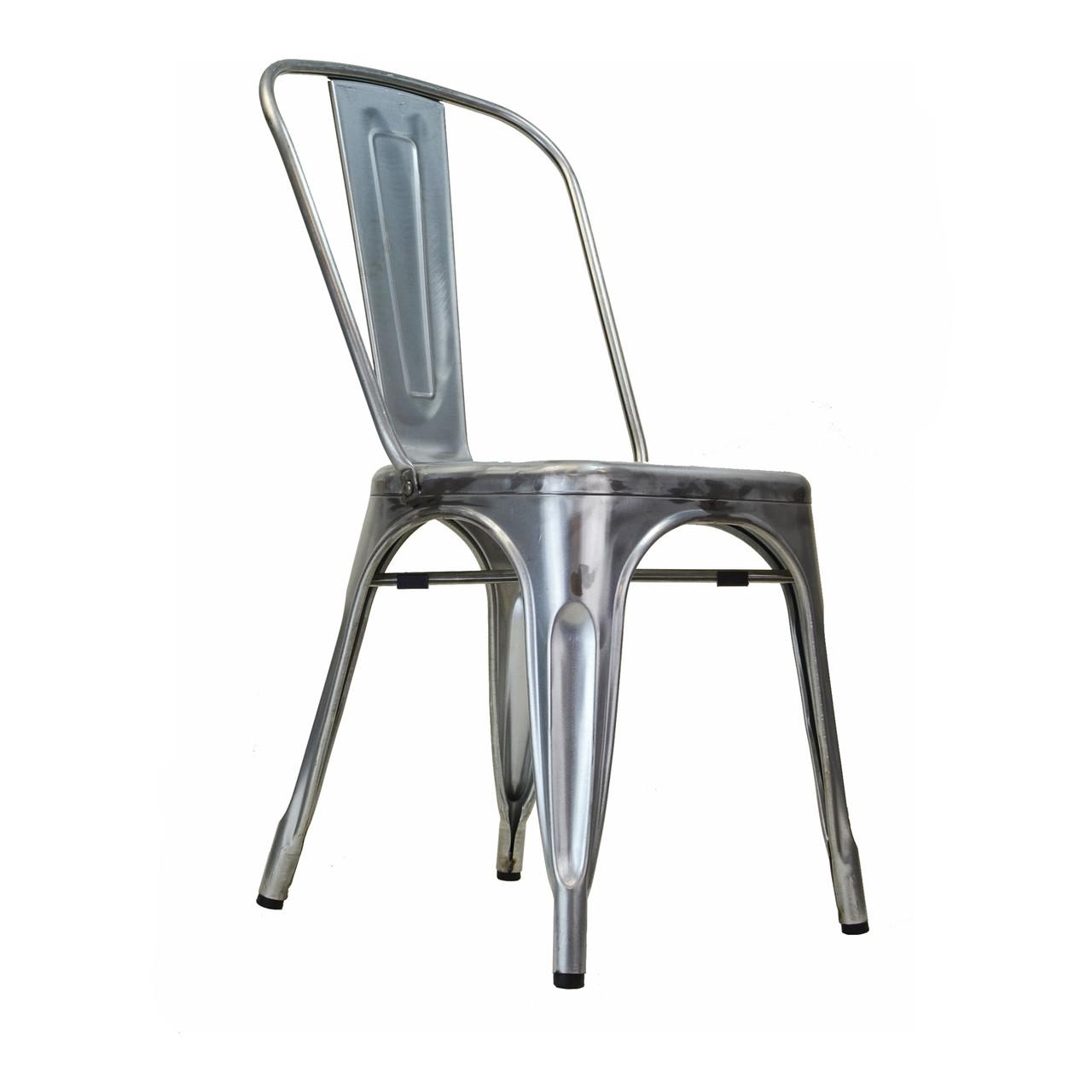 Charming Bastille Side Chair In Gun Metal Galvanized Steel