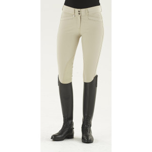 Ovation® Celebrity Slim Secret EuroWeave™ DX Euro Seat Front Zip Knee Patch Breeches - Show Tan