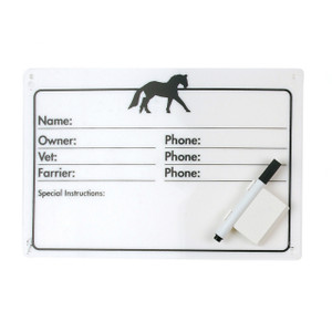 Horse Info Stall Plaque with Dry Erase Pen