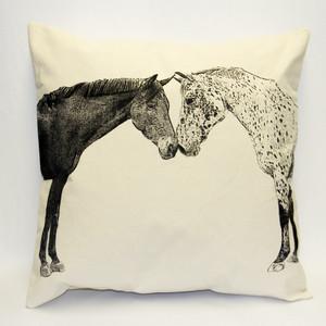 Eric & Christopher Large Pillow - Kissing Horses