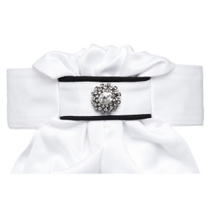 All Tied Up Stock Tie - Black Piping with Large Crystal Brooch