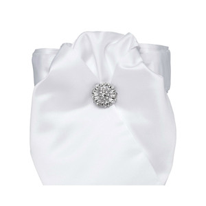 All Tied Up Stock Tie - White with Crystal Stock Pin