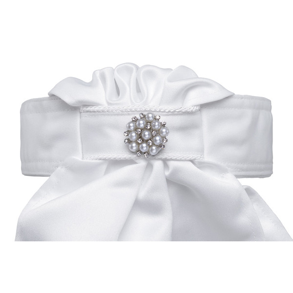 All Tied Up Stock Tie - White Bead/Crystal Cluster