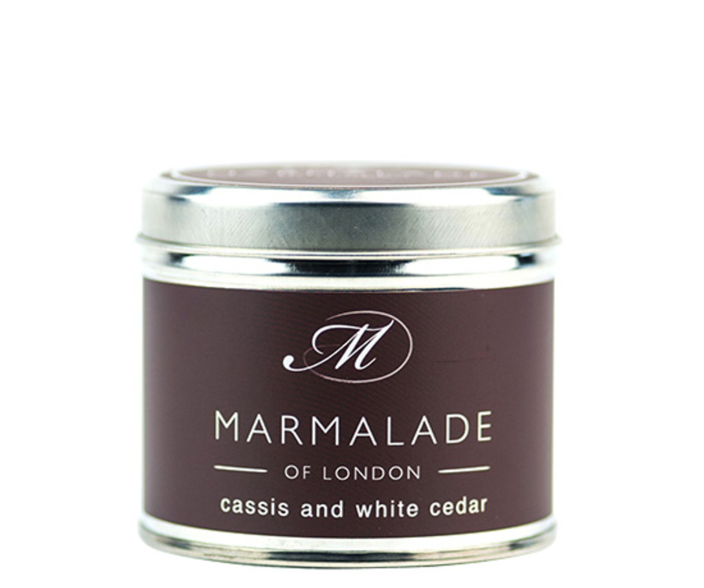 Cassis & White Cedar medium tin candle from Marmalade of London.