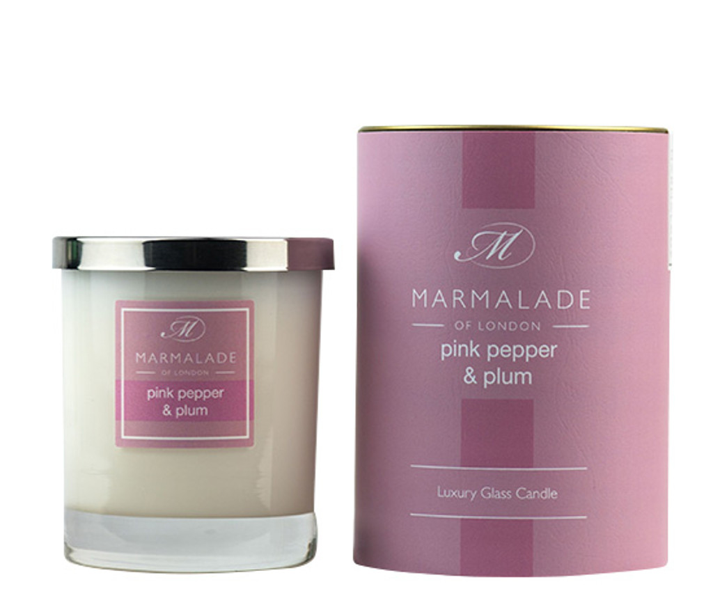 Pink Pepper & Plum glass candle from Marmalade of London.
