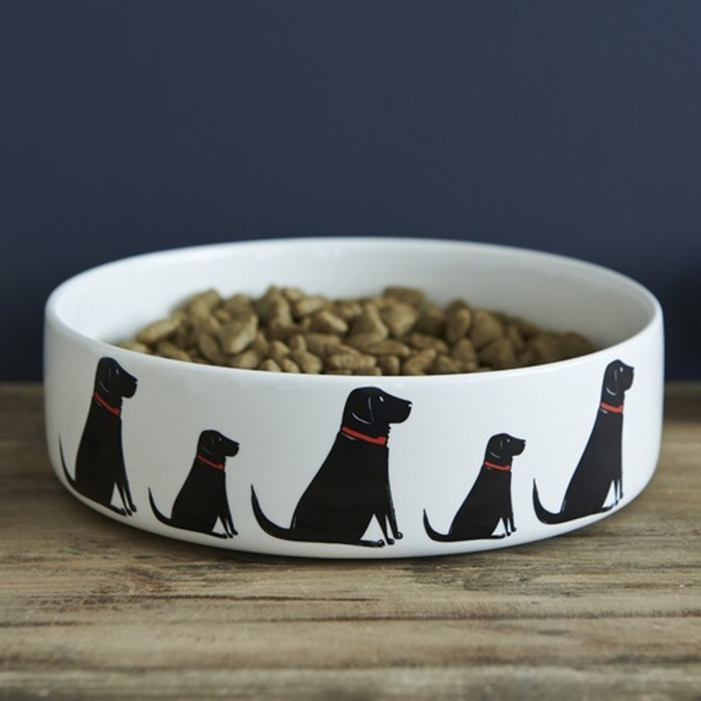 Pottery Black Labrador Dog Bowl from Sweet William Designs.
