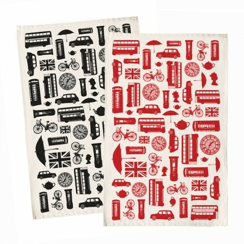 Great British Outline Tea Towel - Black