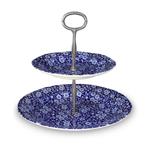 Blue Calico 2 Tier Cake Stand