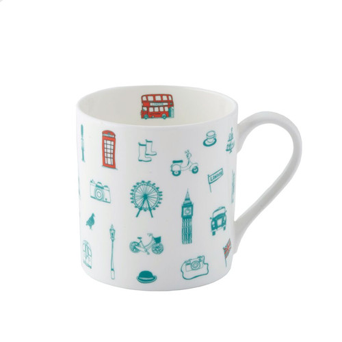 Simply London Mug - Turquoise & Coral