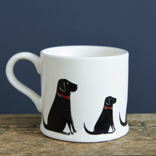 Black Labrador pottery mug from Sweet William Designs.