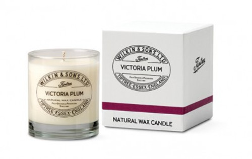 Victoria Plum Natural Wax Candle in glass from Tiptree of Essex in England.