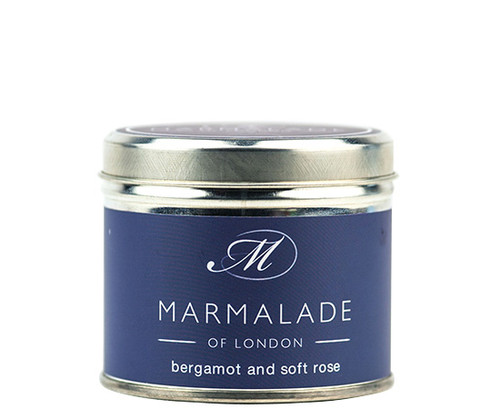 Bergamot & Soft Rose medium tin candle from Marmalade of London.