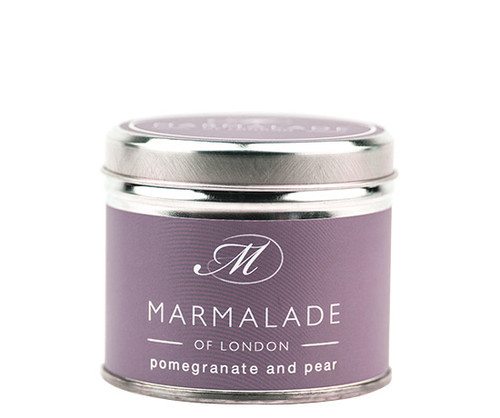 Pomegranate & Pear medium tin candle from Marmalade of London.