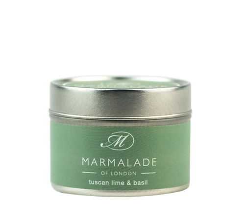 Tuscan Lime & Basil small tin candle from Marmalade of London.