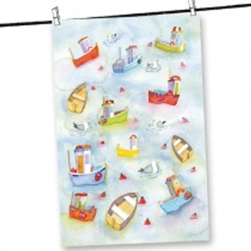 Emma Ball Boats Afloat Tea Towel.