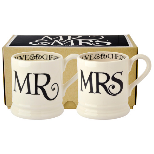 Black Toast Mr & Mrs set of 2 half pint mugs from Emma Bridgewater.