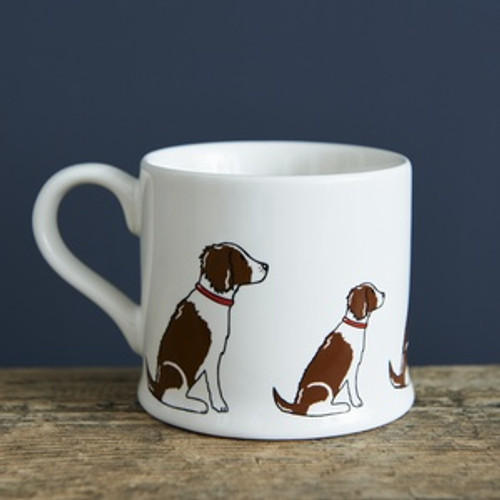 Pottery Springer Spaniel (Liver & White) mug from Sweet William Designs.