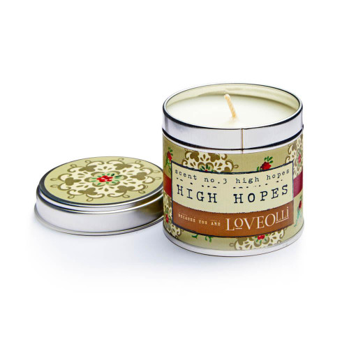 Love Olli High Hopes scented tin candle. Hand poured in the UK.