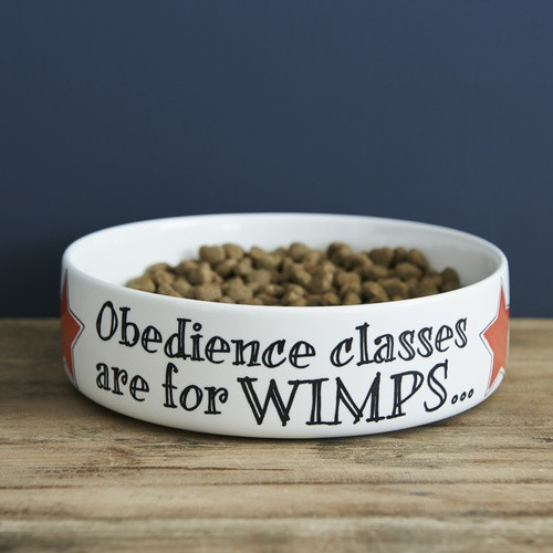 Pottery Obedience Classes are For Wimps Pet Bowl from Sweet William Designs.