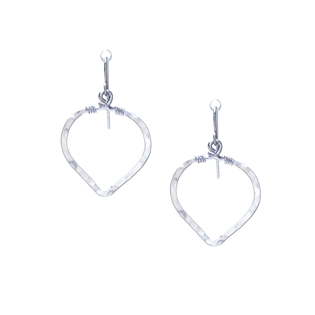 (Small) Hammered Geometric Minimalist Silver Double Hoop Drop Earrings, Handmade / GAE S B7-1