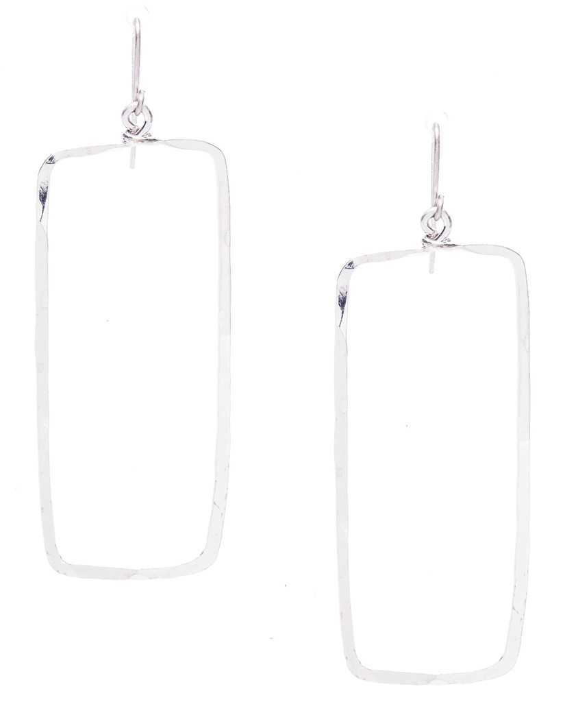Golden Age hammered rectangular shaped hoop earrings in silver plate finish. Surgical steel earwire.