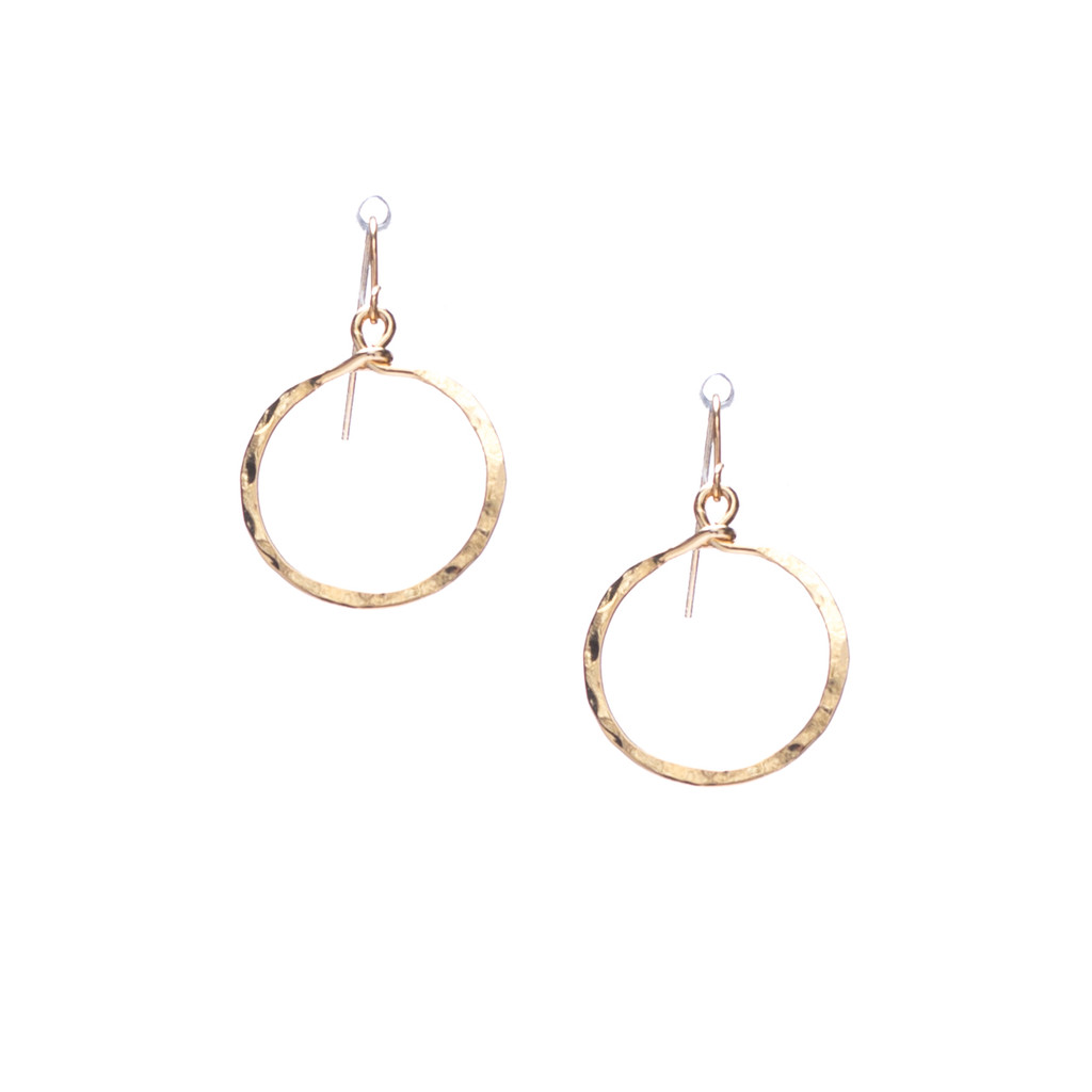 (Extra small) Hammered Geometric Minimalist Gold Hoop Earrings, Handmade / GAE G B8-1