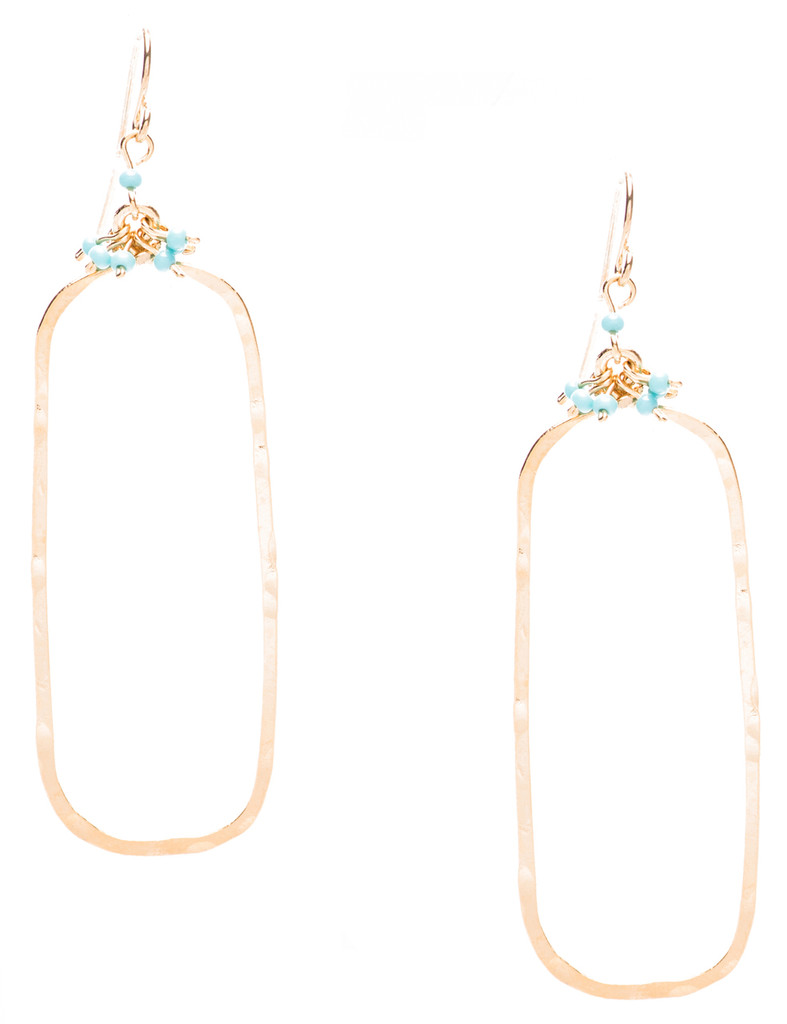 Golden Age hammered teardrop earring in gold plate finish and turquoise seed beads. Surgical steel earwire.