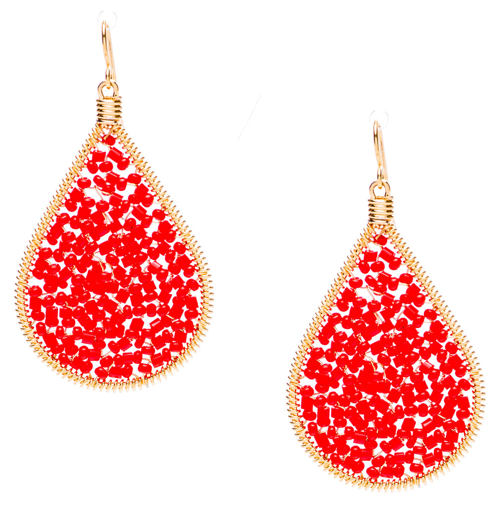 Ipamema Earrings - Tear drop earrings with red coral fire polish crystals and red coral seed beads in gold plate finish. Surgical steel earwire.