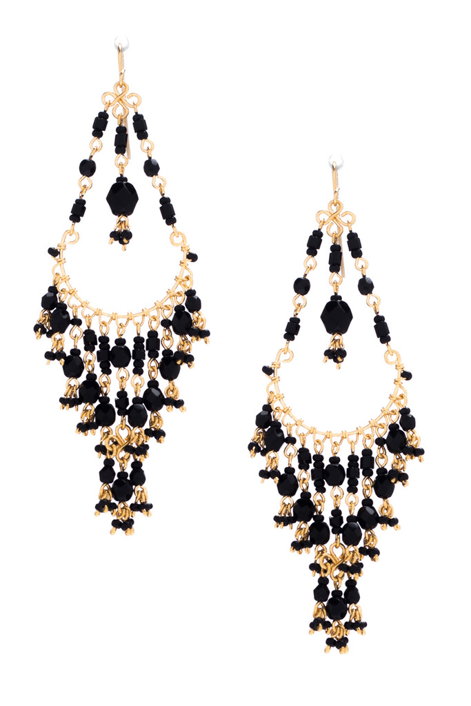 Handmade Bohemian Beaded gold Plated Chandelier Earrings / CAE G B10-14