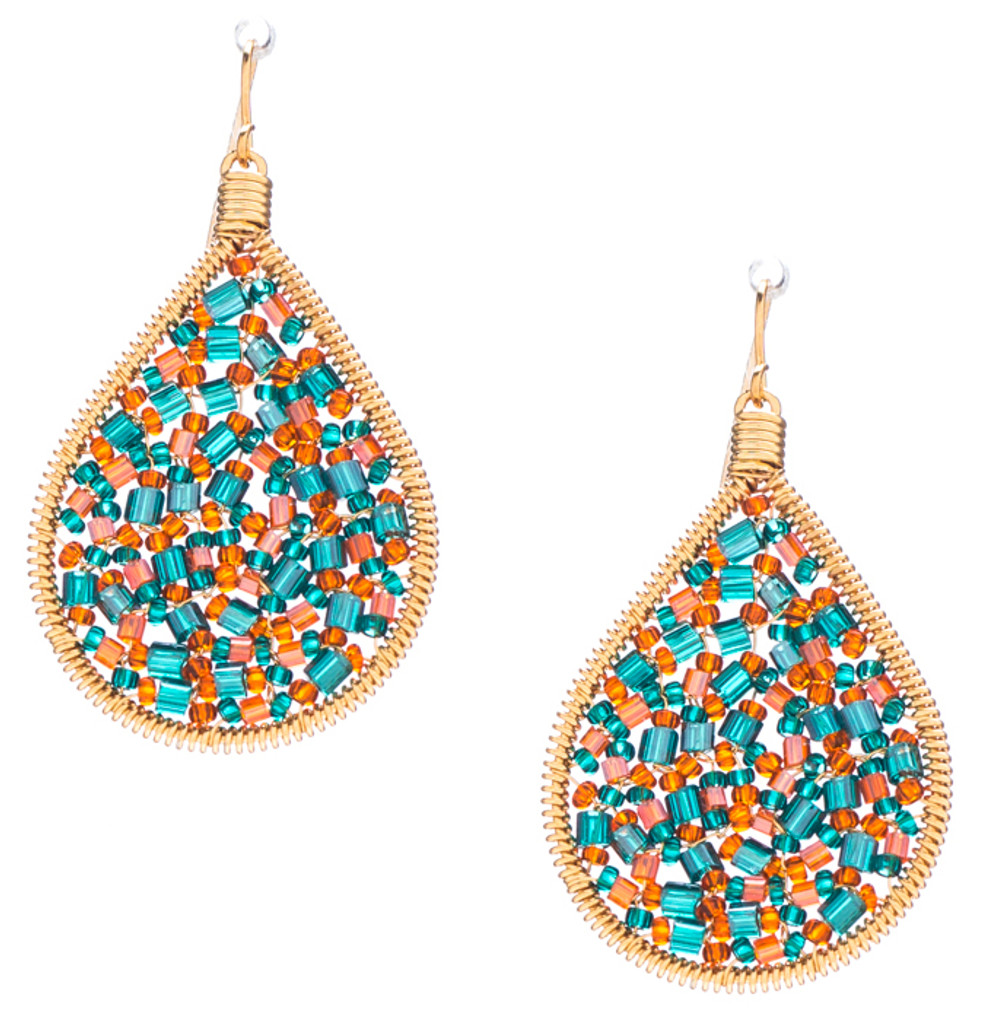 Handmade boho beading Czech seed beads and bugle beads gold plated Teardrop Bohemian Earrings / RQE G B14-D65