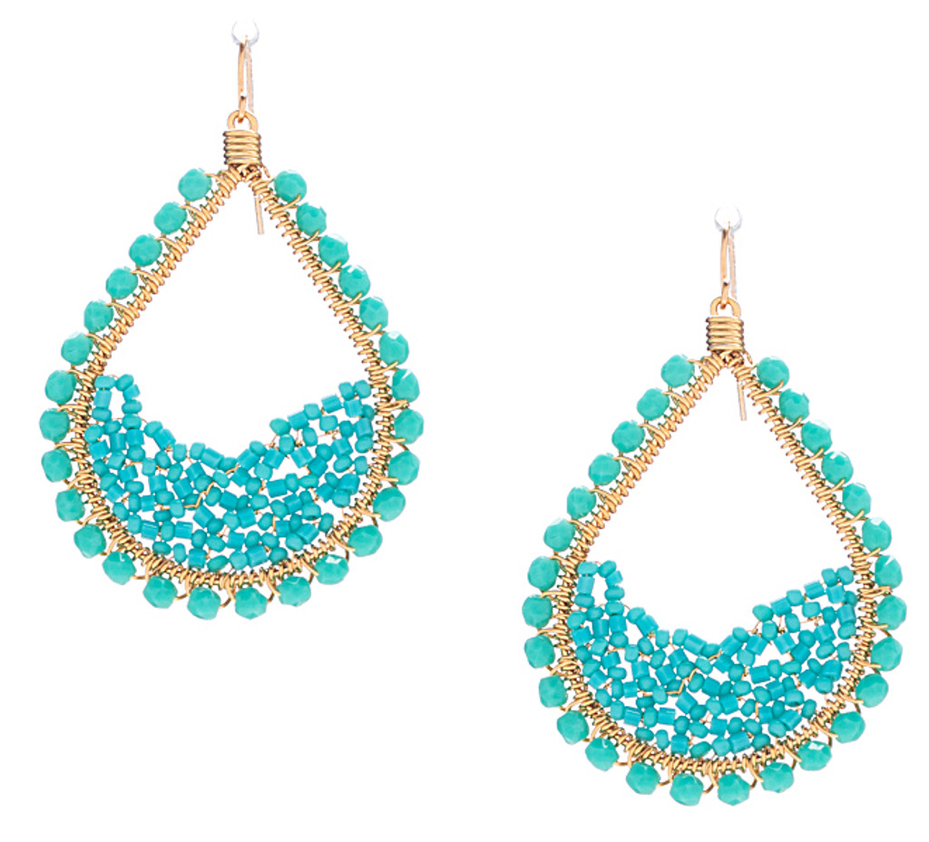 Handmade Bohemian Gold Seed Beads and Bugle Beads Teardrop Earrings in Enchanting Mix / RQE G B52-1