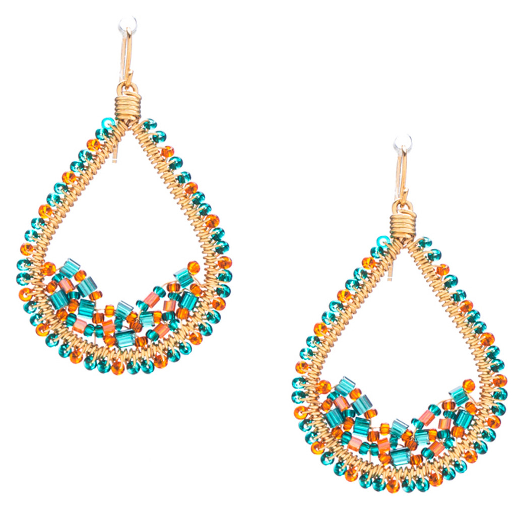 Handmade Bohemian Seed Beads and Bugle Beads Gold plated Teardrop Earrings in Enchanting Mix / RQE G B56-D81