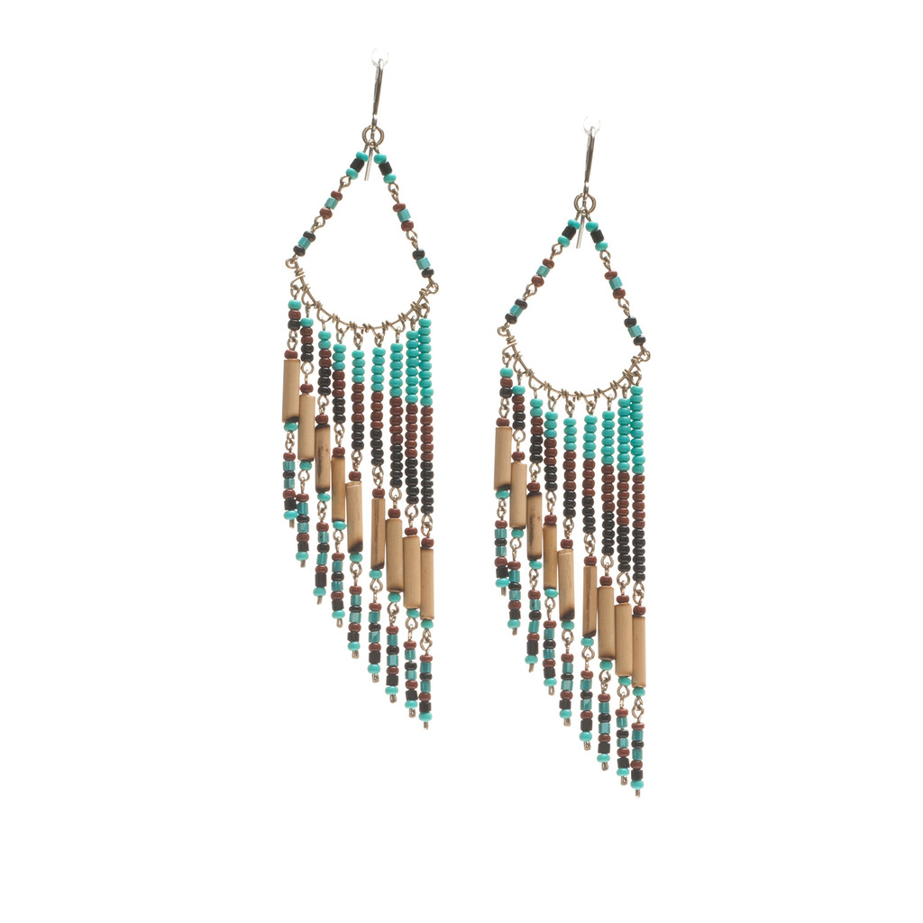 Handmade Beaded Boho Tribal  Wire Wrap Czech Glass Seed Beads Bamboo Earrings / LME B9-2