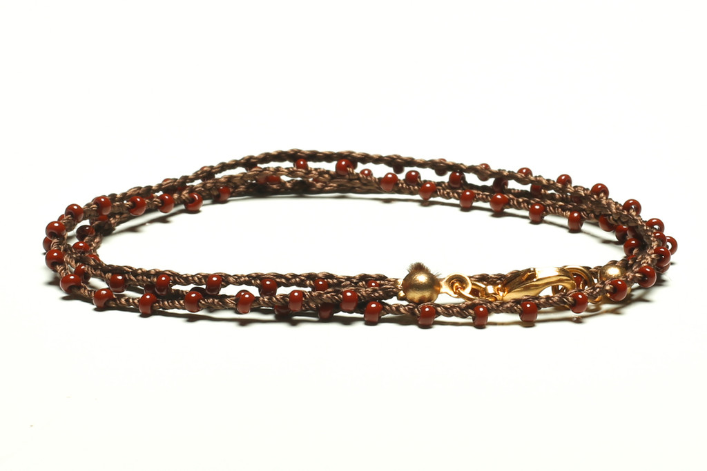 """16"""" braided chestnut brown silk thread necklace with rust seed beads and gold plated clasp"""