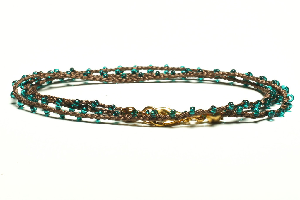 "16"" braided chestnut brown silk thread necklace with transparent teal seed beads and gold plated clasp"