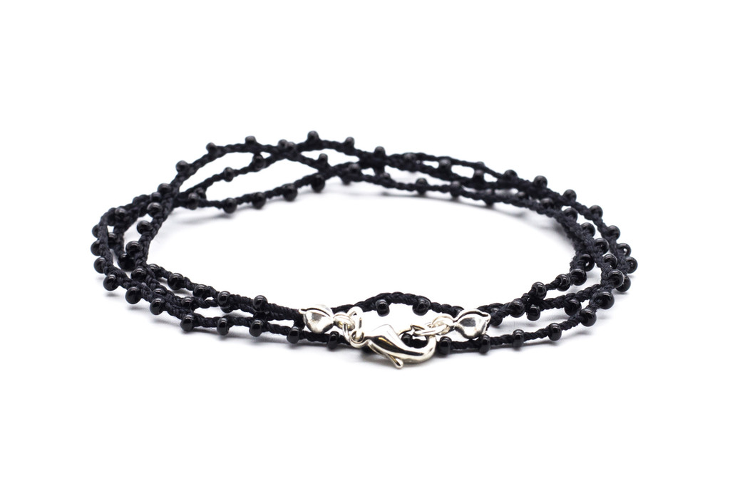 "16"" braided steel black silk thread necklace with black seed beads and silver plated clasp"