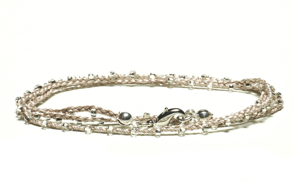 """16"""" braided silver silk thread necklace with clear seed beads and silver plated clasp"""