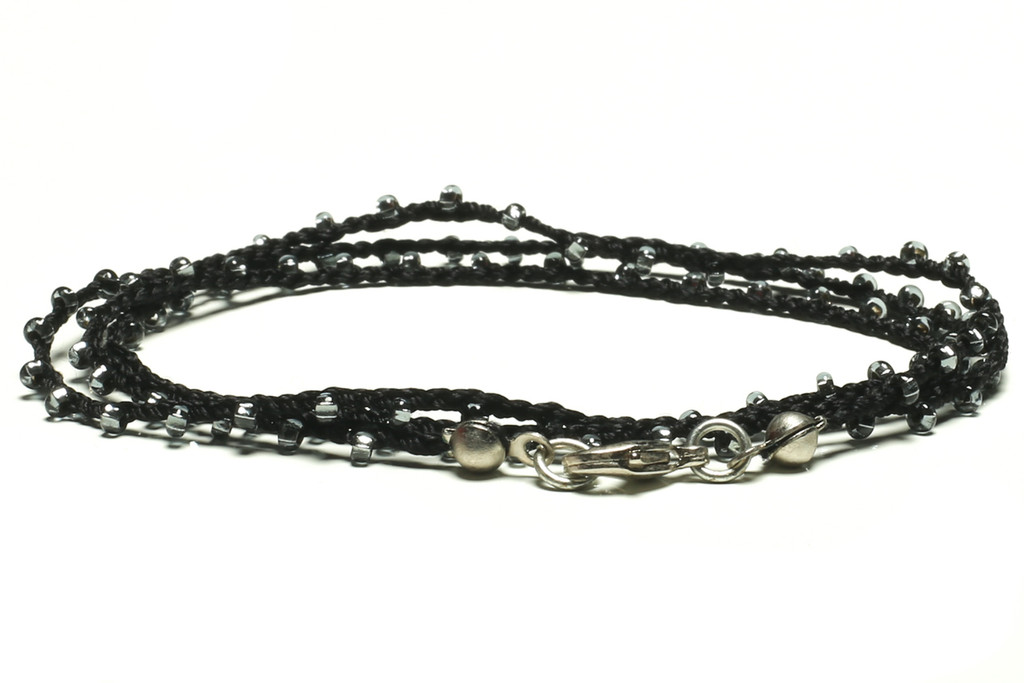 """16"""" braided black silk thread necklace with transparent grey seed beads and silver plated clasp"""