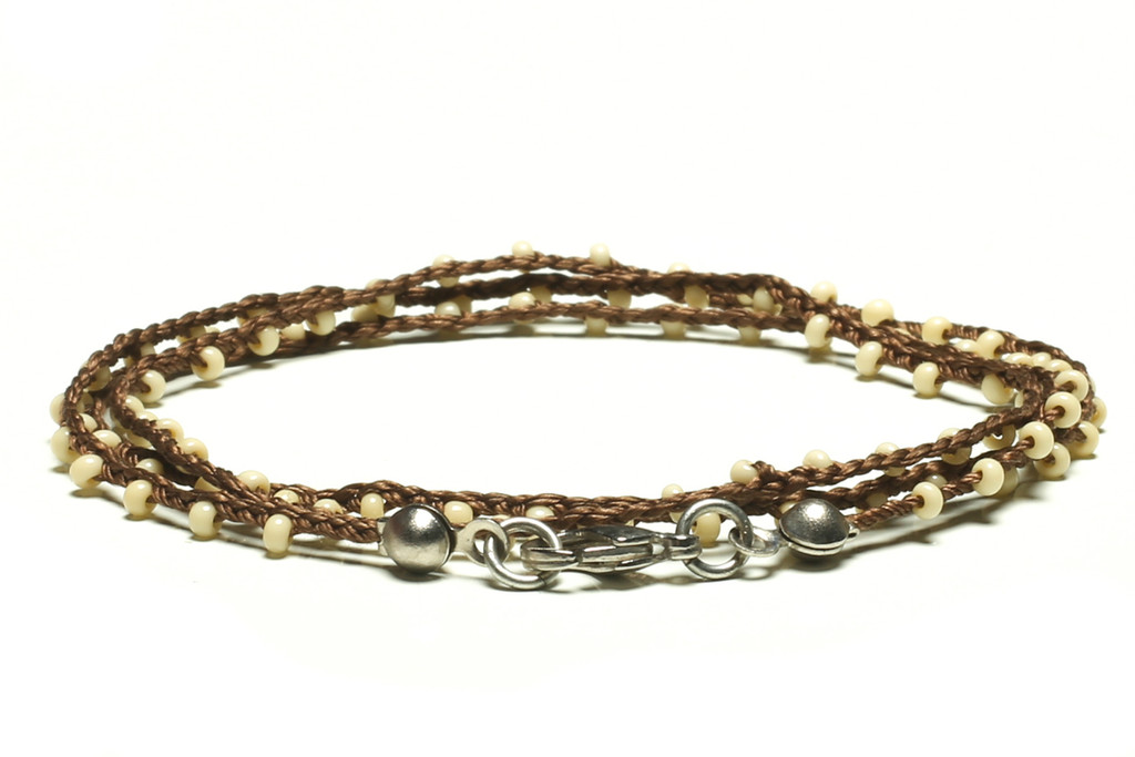 """16"""" braided chestnut brown silk thread necklace with off white seed beads and silver plated clasp"""