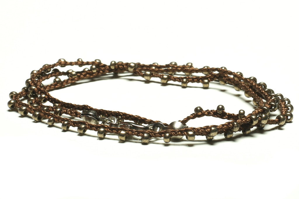 "16"" braided chestnut brown silk thread necklace with bronze seed beads and silver plated clasp"