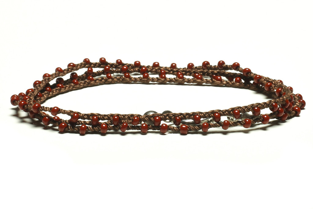 """16"""" braided chestnut brown silk thread necklace with burgandy seed beads and silver plated clasp"""