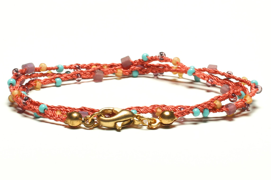 """16"""" braided coral silk thread necklace with matte lilac 2-cut hex, turquoise, transparent lilac and matte taupe seed beads and gold plated clasp"""