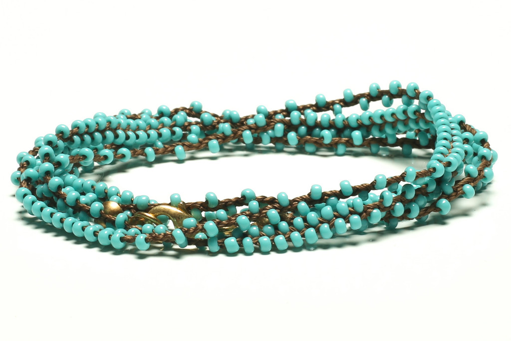 "32"" braided chestnut brown silk thread necklace with double beaded turquoise seed beads and gold plated clasp"