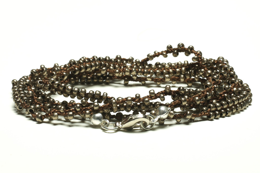 "32"" braided chestnut brown silk thread necklace with double beaded metallic silver seed beads and silver plated clasp"